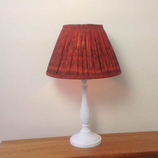 Burnt Orange Ikat gathered lampshade