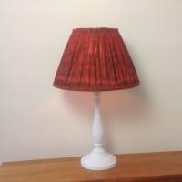 Burnt Orange Ikat gathered lampshade - Julia's Lampshades