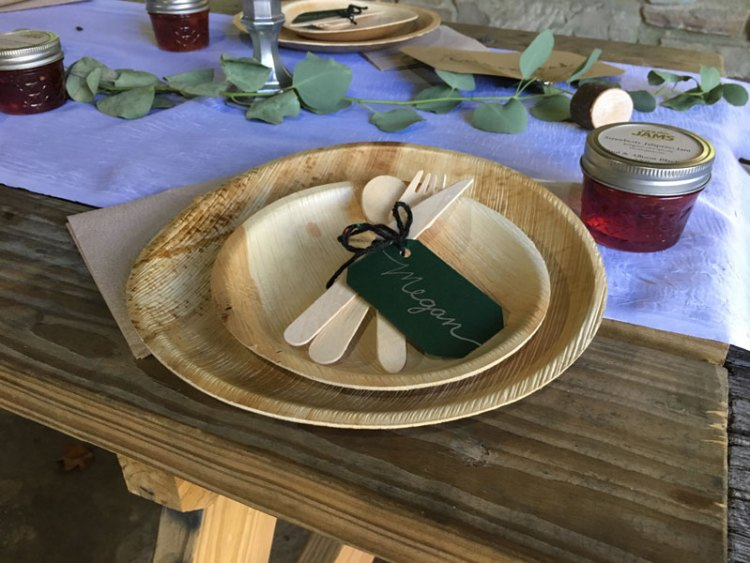 Compostable plates on wooden table
