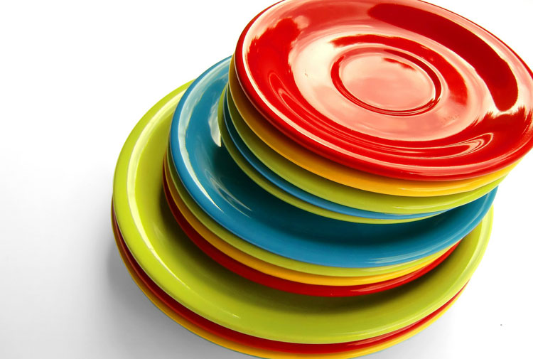 Stack of multicolored plates