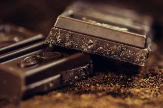 Close-up of broken dark chocolate square