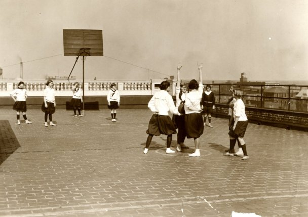 Basketball on the Roof of the Town School