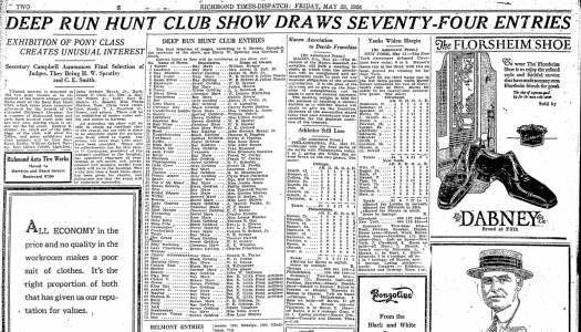 """Deep Run Hunt Club Show Draws Seventy Four Entries,"" Richmond Times-Dispatch, May 24, 1924"