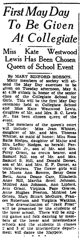 """First May Day To Be Given At Collegiate"" Richmond Times-Dispatch, May 5, 1933"