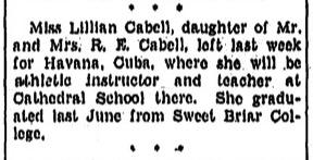 Miss Lillian Cabell leaves for Havana, Cuba, September 6, 1936
