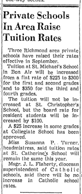 """Private Schools In Area Raise Tuition Rates"" from unidentified Richmond newspaper, ca. 1958"