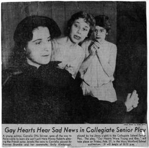 """Gay Hearts Hear Sad News in Collegiate Senior Play"" in unidentified newspaper, February 1959"