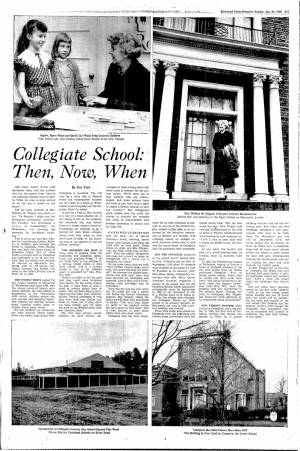 """Collegiate School: Then, Now, When"" in the Richmond Times-Dispatch, January 25, 1959"
