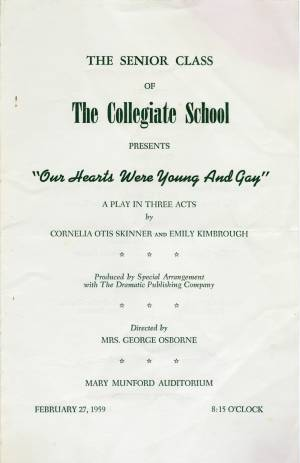 """Our Hearts Were Young And Gay,"" 1959 Senior Play, Program, p. 1"