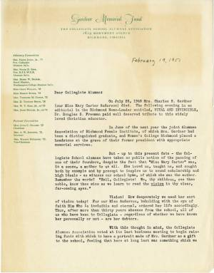 Solicitation Letter from the Gardner Memorial Society, February 19, 1951
