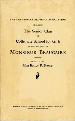 Monsieur Beaucarie, Senior Play Program, 1932