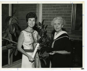 Mrs. Williams and Mrs. Flippen at Commencement, 1972