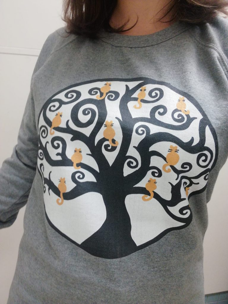 grey sweatshirt teepublic cats in tree design