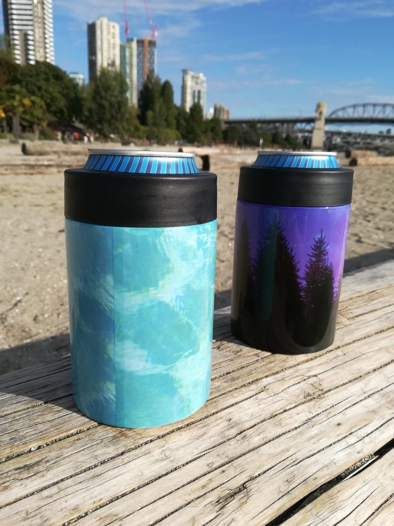 turquoise water purple galaxy drink koozies
