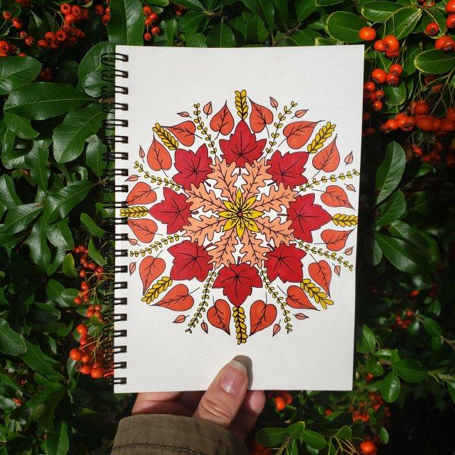mandalatober2019 autumn leaf mandala