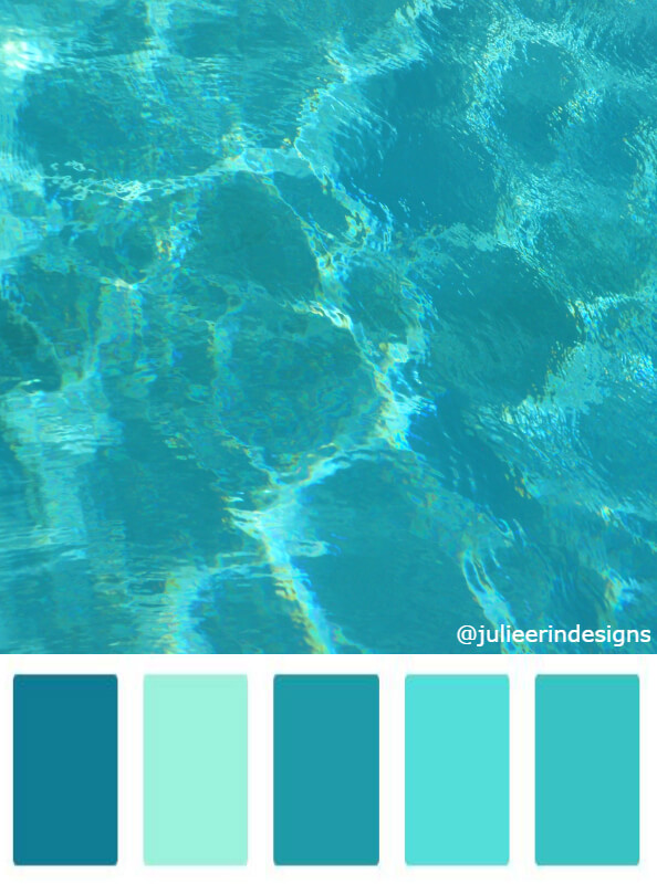Turquoise blue summer water swimming pool colour swatches