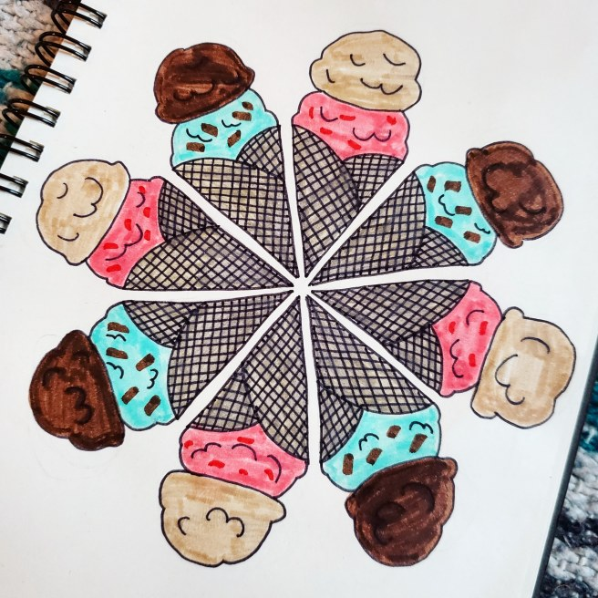 ice cream cone food mandala