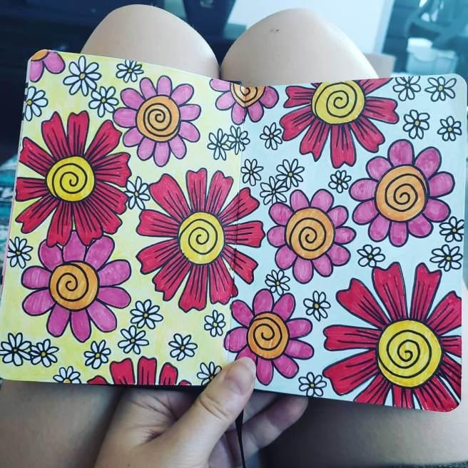 retro flowers pattern sketchbook page