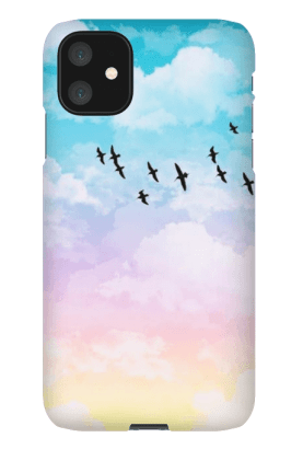 pastel clouds with birds iphone 11 case
