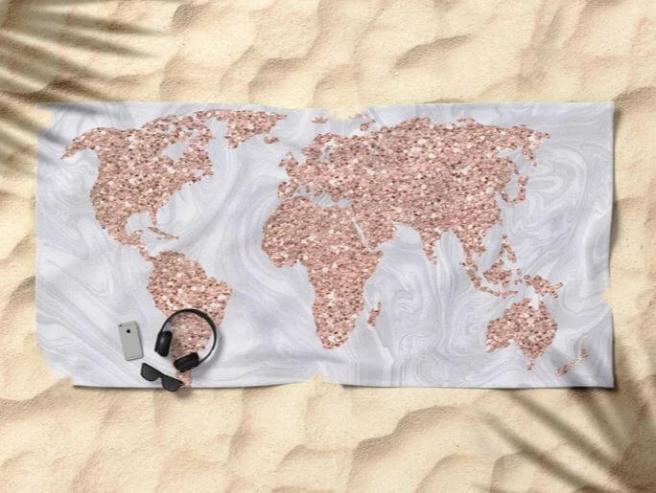 world map travel beach towels essentials