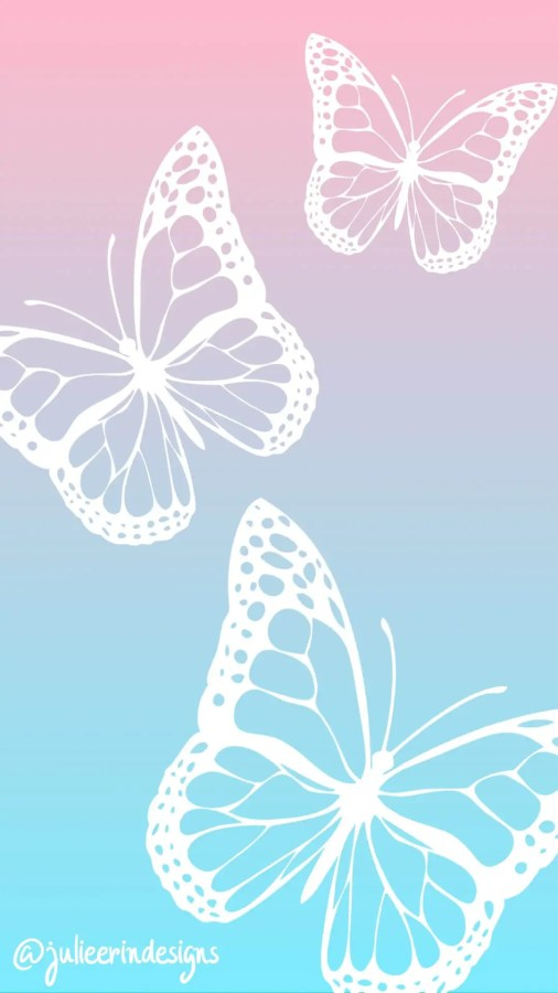 pink blue butterfly mobile phone background