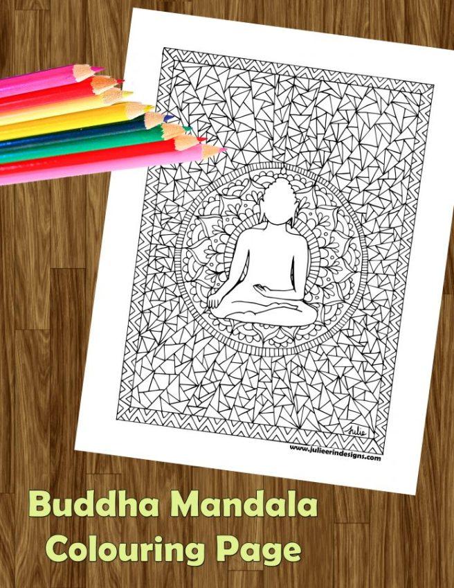 buddha mandala free colouring page