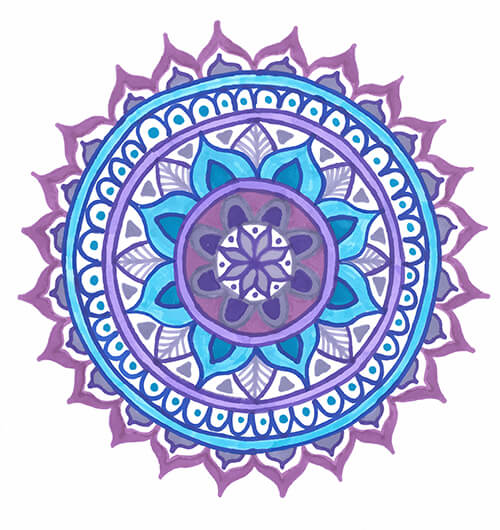 mandala drawing template purple blue