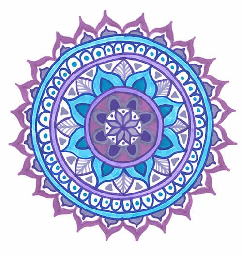 mandala drawing template purple blue