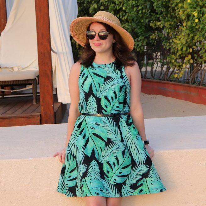 monstera tropical paradise leaf pattern dresses