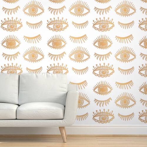 evil eyes gold spoonflower wallpaper