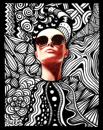 Fashion sunglasses zentangle art