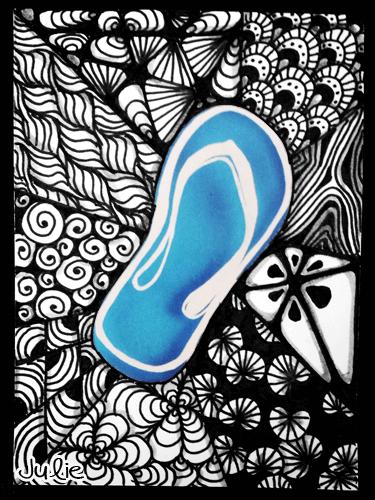 flip flop zentangle drawing