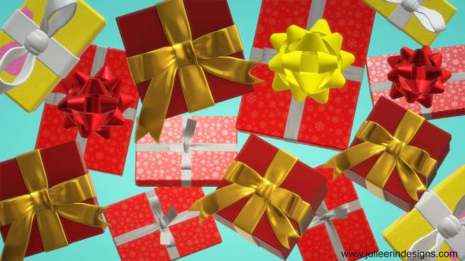 pile of christmas presents festive zoom background