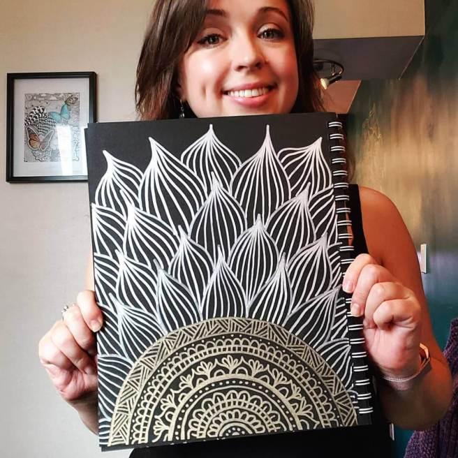 mandala art on black paper silver and gold metallic paint pens julie erin designs