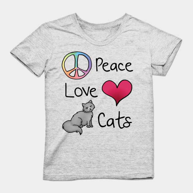 peace love cats grey womens soft shirt