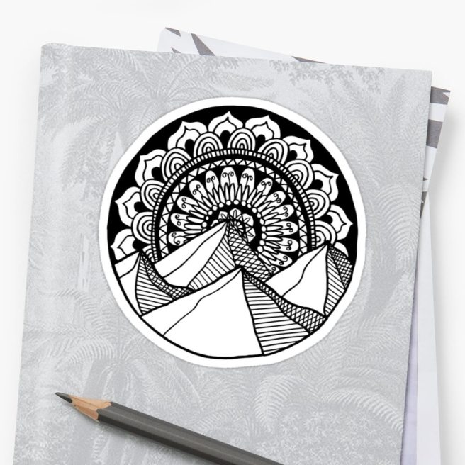 mountain mandala sticker redbubble