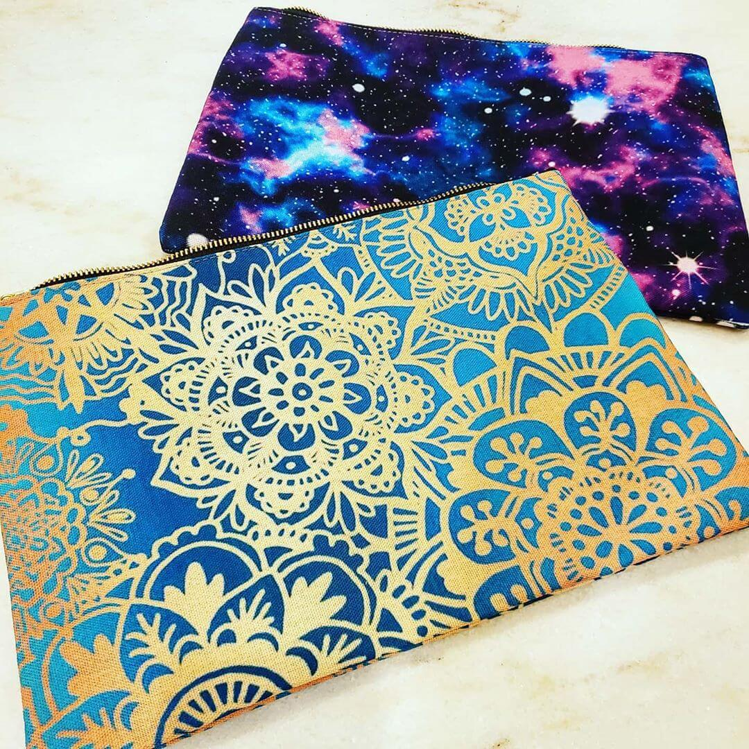 pencil case galaxy and mandala pattern blue
