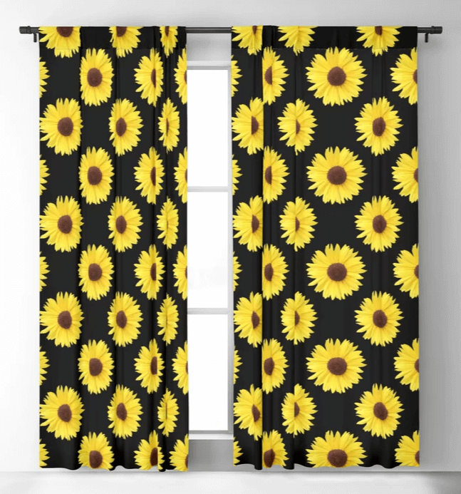 Offset pattern sunflower curtains