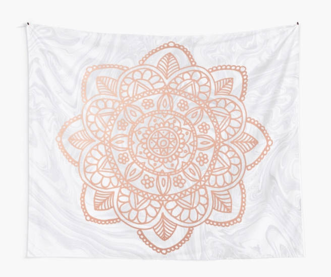 rose gold mandala tapestry