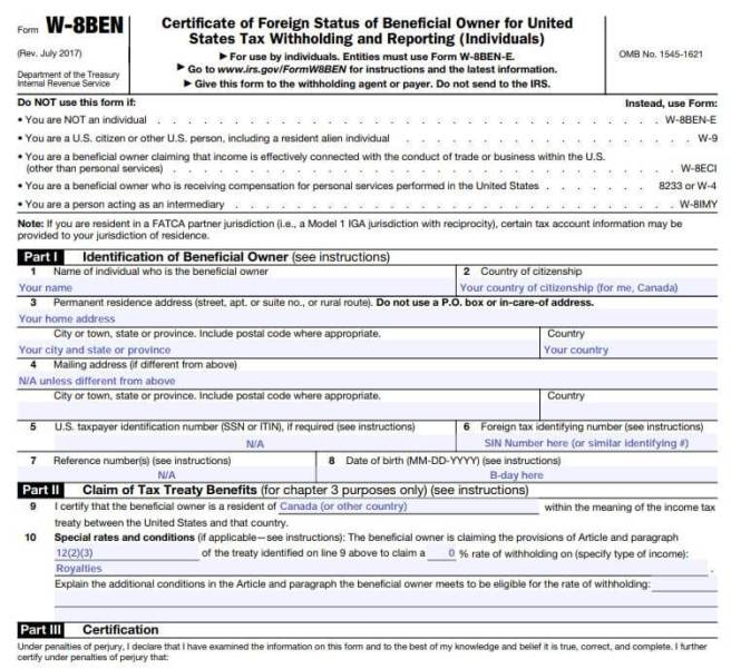 how to fill out us tax withholding W-8BEN form