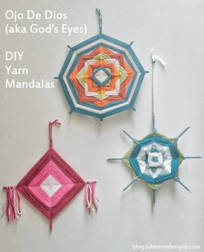 ojo de dios gods eye diy yarn mandalas