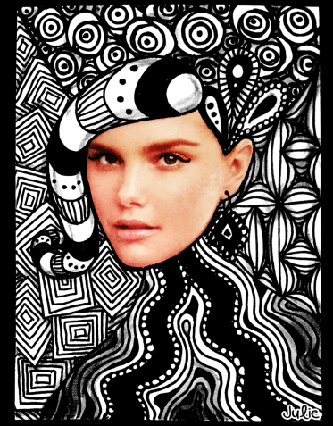 zentangle collage woman's face