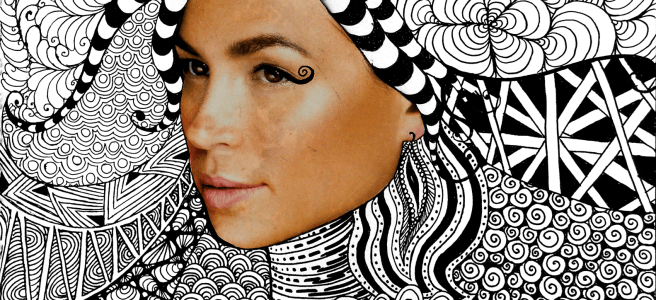 zentangle face art drawing collage magazine woman