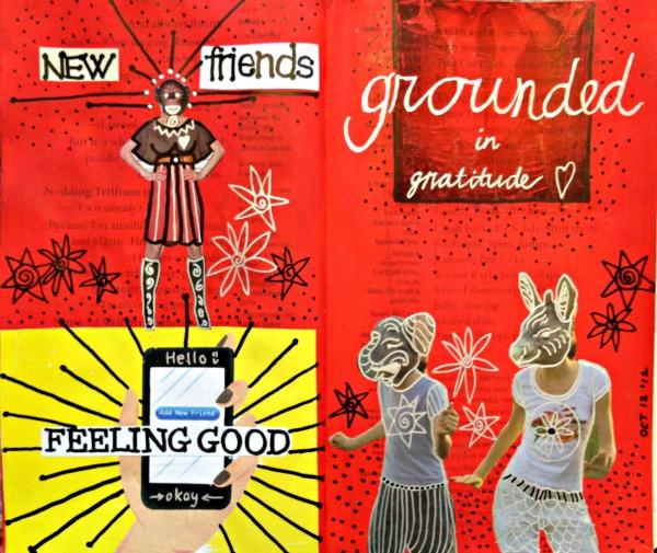 new friends art journal spread