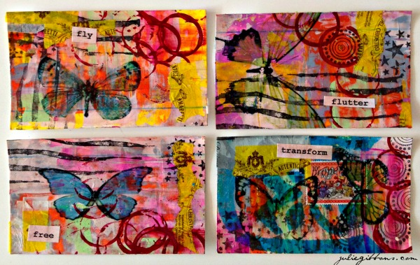 index card art butterfly collection