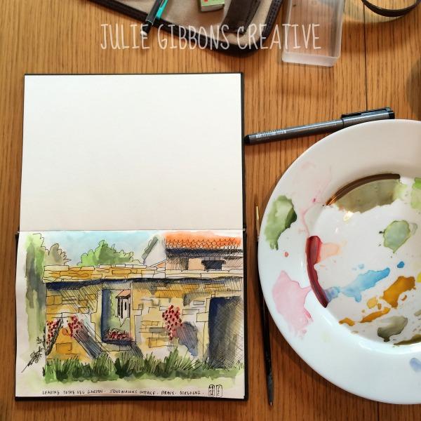 Burgundy Farmhouse Watercolour