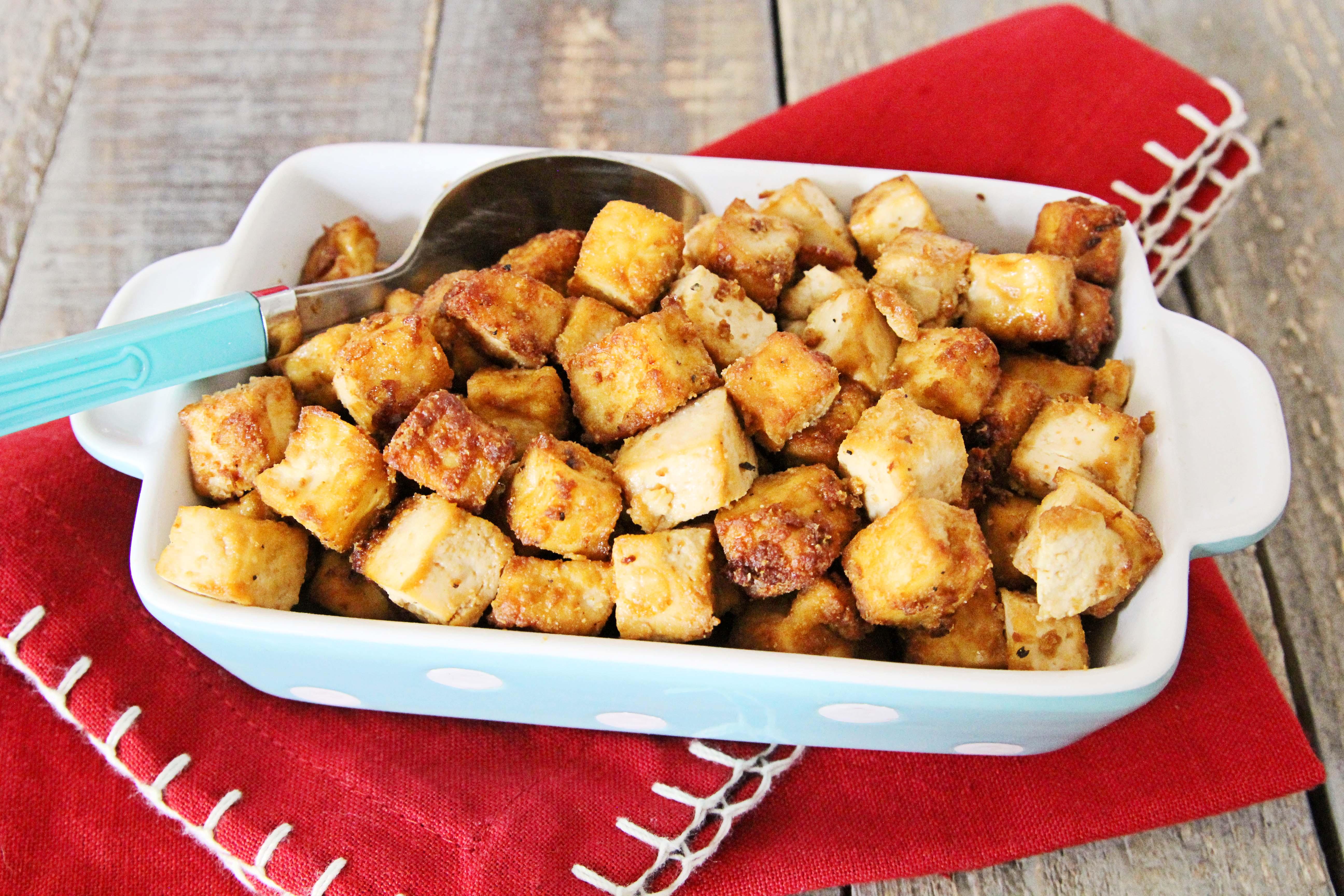 A Photo Of Best Air Fryer Tofu, Gluten-Free + Vegan | Julie's Kitchenette