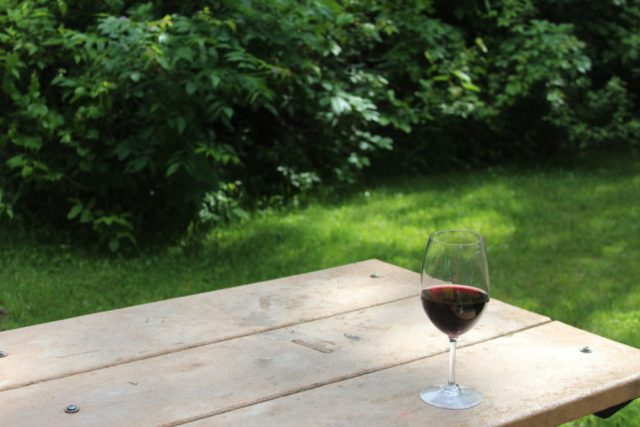 wine at the picnic table