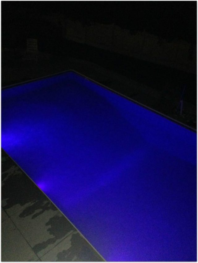 Night LED lights in the pool