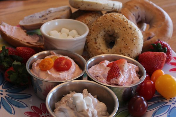 Make your own whipped Flavored Cream Cheese Bagel Breakfast Bar platter